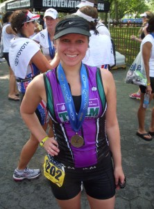 Jenna celebrates her awesome finish at this year's Nautica Triathlon.