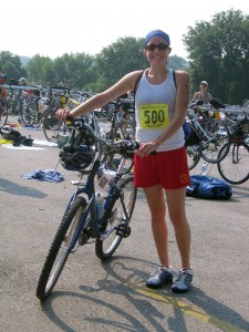 Karla's all smiles after completing her first triathlon.