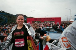 Me after finishing the 2010 Nike Women's Half Marathon!