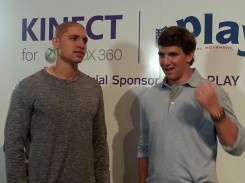 Eli Manning and New Orleans Saints Tight End Jimmy Graham break down the 60 Million Minutes Challenge before the big game this weekend. (Photo courtesy Xbox360)