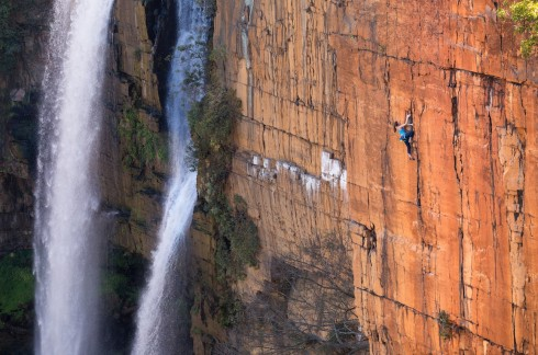 Paige climbs next to Boven's iconic waterfall. Photo credit Jon Glassberg (LT11)