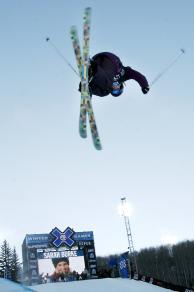Sarah Burke shows off her ski tricks at the 2010 X Games is Aspen, Colorado. (Photo courtesy of Heather Rousseau/Shazamm/ESPN Images)