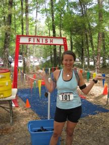 Meghann celebrates after completing one of her many races.