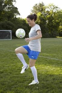 She may no longer play professionally, but Julie Foudy still knows how to have a ball. (Photo courtesy of PUMA)