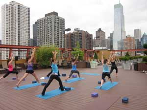 Our FOF finalists reached for a zen moment during a rooftop yoga session in NYC.