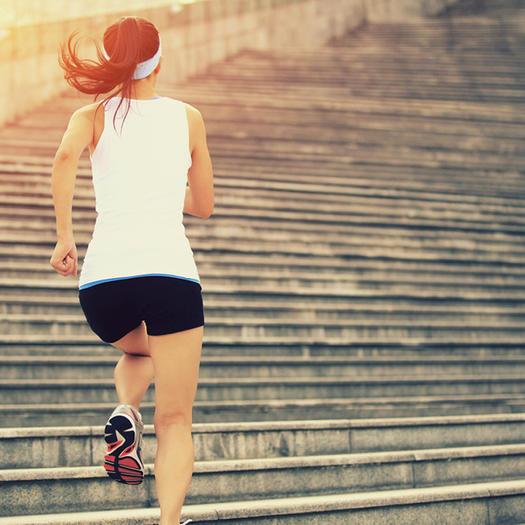 Running up stairs