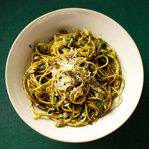Fast food easy healthy 20 minute recipes fitness magazine spaghetti wtih cilantro pesto and pumpkin seeds forumfinder Gallery