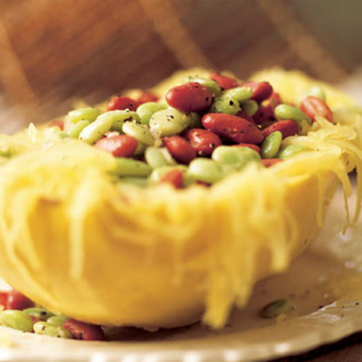 Vegetarian meal ideas quick vegetarian meals fitness magazine spaghetti squash with balsamic beans forumfinder Gallery
