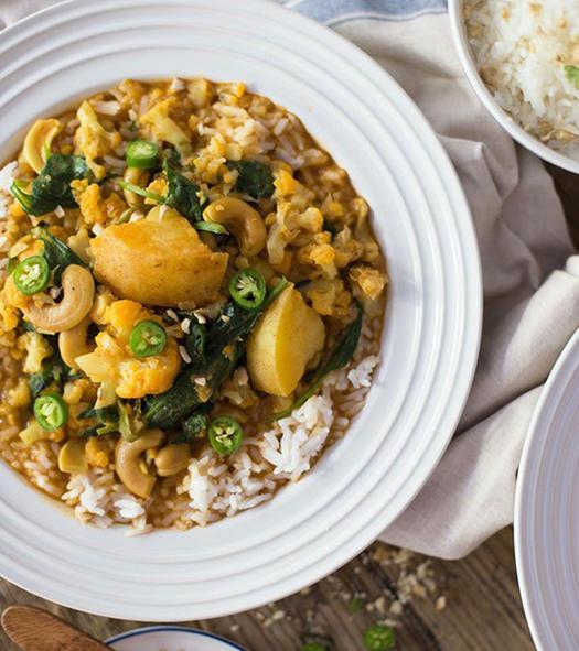 Almond milk vegetarian curry recipe