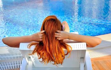 girl swimming Redhead